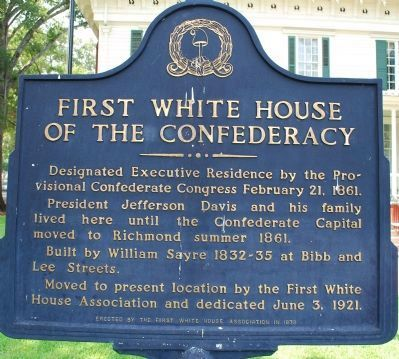 First White House of the Confederacy Marker image. Click for full size.