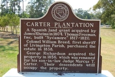 Carter Plantation Marker image. Click for full size.