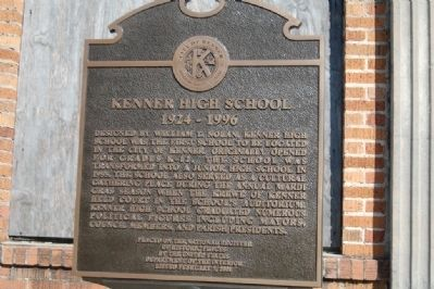 Kenner High School Marker image. Click for full size.