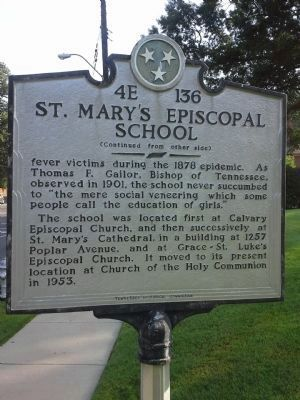 St. Mary's Episcopal School Marker image. Click for full size.