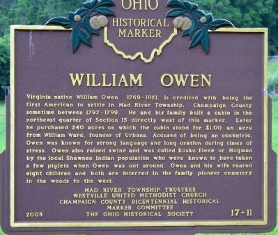 William Owen Marker image. Click for full size.