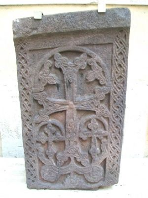 13th Century St. Gregory Monastery Cross-stone image. Click for full size.