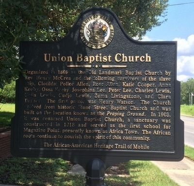 Union Baptist Church Marker (Front) image. Click for full size.