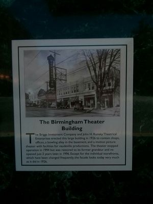The Birmingham Theater Building Marker image. Click for full size.
