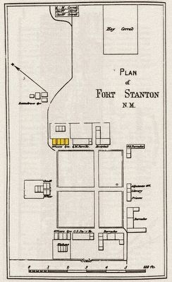 Location of Officer's Quarters, Bldg. 4 [in yellow] on 1876 map of Fort Stanton image. Click for full size.