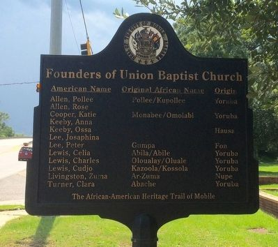 Founders of Union Baptist Church Marker (Rear) image. Click for full size.