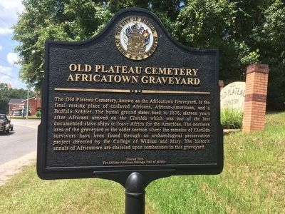 Old Plateau Cemetery Africatown Graveyard Marker image. Click for full size.