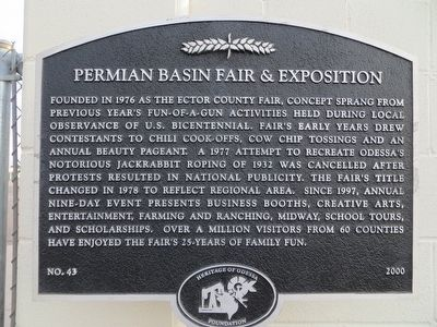 Permian Basin Fair & Exposition Marker image. Click for full size.