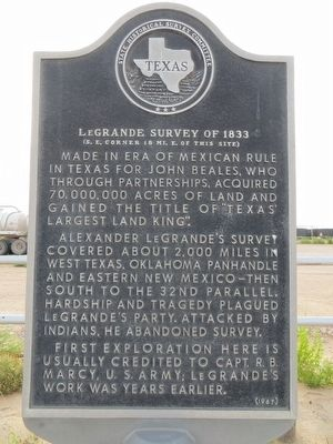 LeGrande Survey of 1833 Marker image. Click for full size.