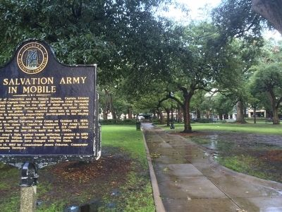 View of marker looking diagonally thru Bienville Square. image. Click for full size.