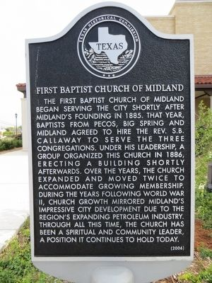 First Baptist Church of Midland Marker image. Click for full size.