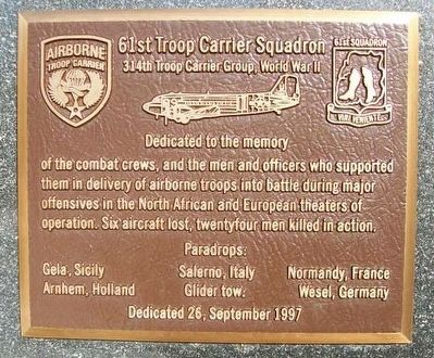 61st Troop Carrier Squadron Marker image. Click for full size.