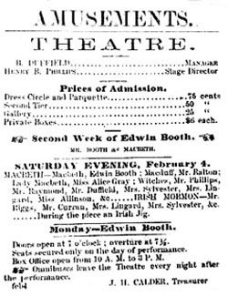 Theatre playbill for Edwin Booth. image. Click for full size.