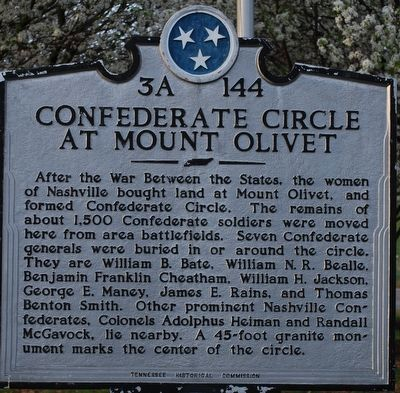 Confederate Circle at Mount Olivet Marker image. Click for full size.