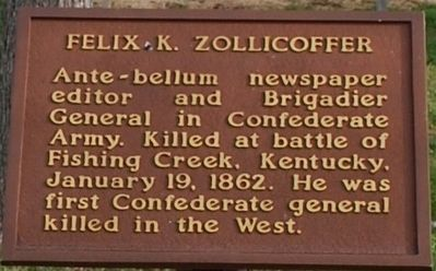 Felix K. Zollicoffer Marker image. Click for full size.