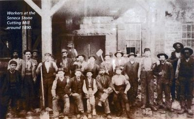 Workers at the Seneca Stone Mill around 1890 image. Click for full size.