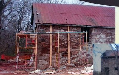 Stone Barn during restoration in 2009. image. Click for full size.