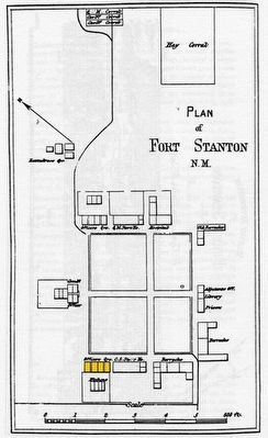 Location of Officer's Quarters, Bldg. 13 [in yellow] on 1876 map of Fort Stanton image. Click for full size.