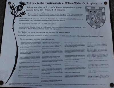 Welcome to the traditional site of William Wallace's birthplace Marker image. Click for full size.