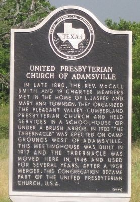 United Presbyterian Church of Adamsville Texas Historical Marker image. Click for full size.