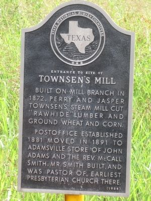 Entrance to Site of Townsen's Mill Marker image. Click for full size.