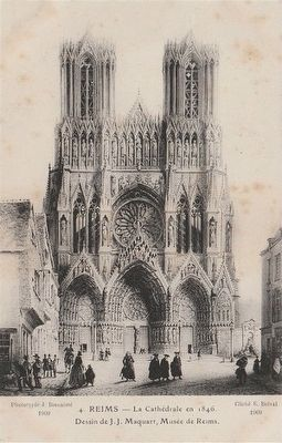 <i>Reims - La Cathédral en 1846</i> image. Click for full size.