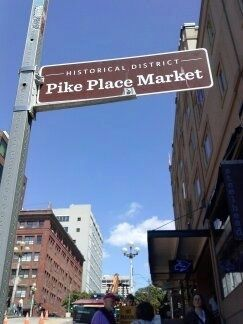 Historic District Pike Place Market sign image. Click for full size.