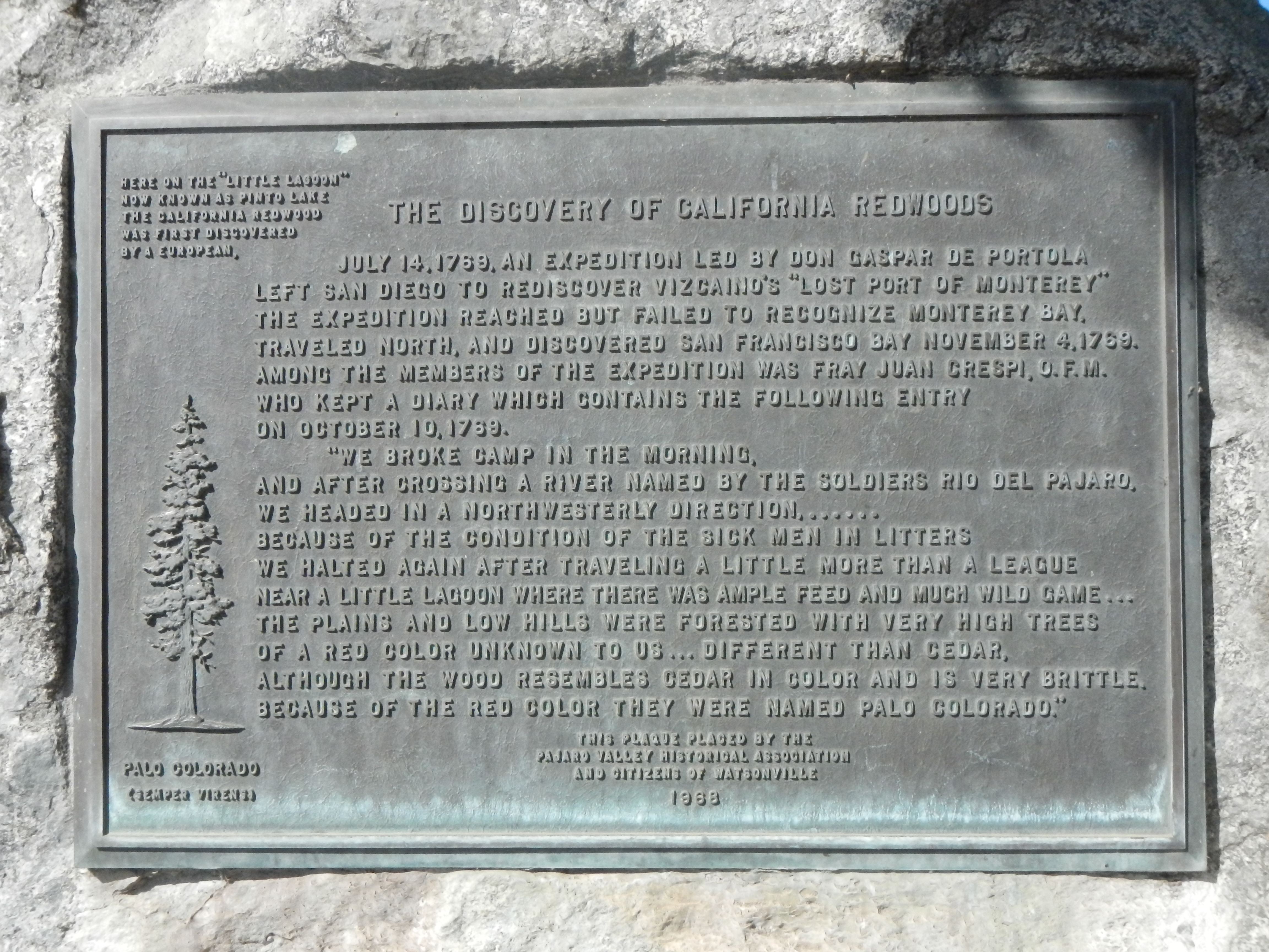 The Discovery of California Redwoods Marker