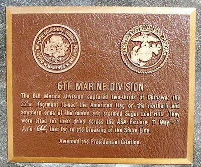 6th Marine Division Marker image. Click for full size.