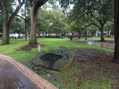 View of marker and Bienville Square park in background. image. Click for full size.