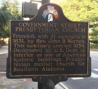 Government Street Presbyterian Church Marker image. Click for full size.