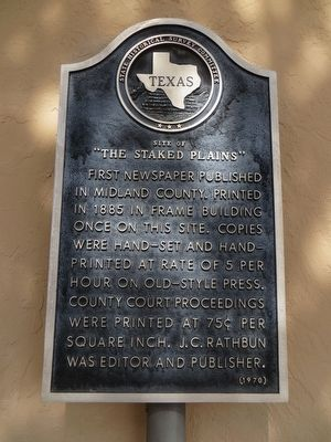 "Site of ""The Staked Plains"" Marker image. Click for full size."