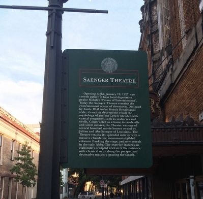 Saenger Theatre Marker image. Click for full size.