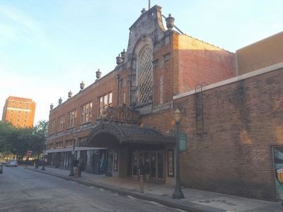View of Saenger Theatre on South Joachim Street. image. Click for full size.