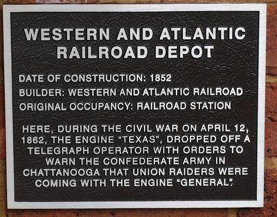 Western and Atlantic Railroad Depot Marker image. Click for full size.