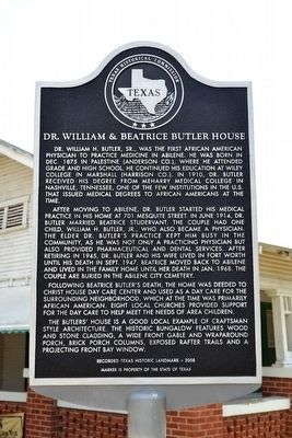 Dr. William & Beatrice Butler House Marker image. Click for full size.