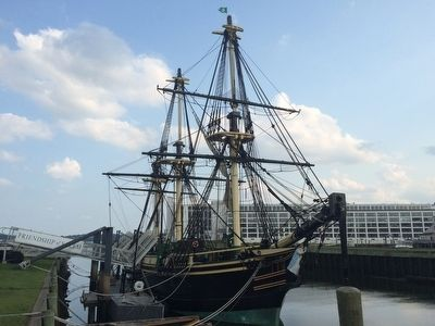 The Friendship replica at Derby Wharf. image. Click for full size.