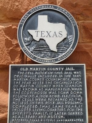 Old Martin County Jail Marker image. Click for full size.