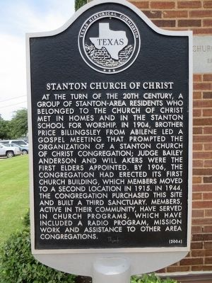 Stanton Church of Christ Marker image. Click for full size.
