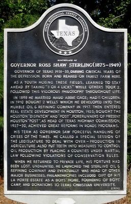 Birthplace of Governor Ross Shaw Sterling Marker image. Click for full size.