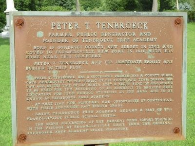 Peter T. Tenbroeck Marker image. Click for full size.