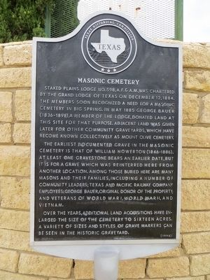 Masonic Cemetery Marker image. Click for full size.