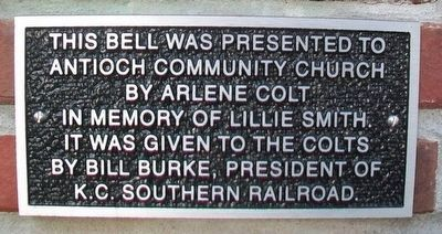 Santa Fe Railway Locomotive Bell Marker at Antioch Church image. Click for full size.