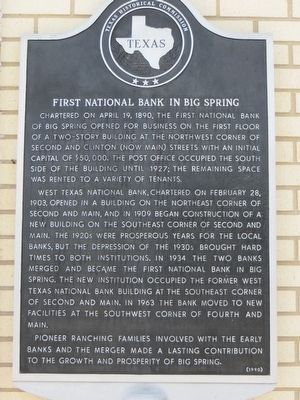First National Bank in Big Spring Marker image. Click for full size.