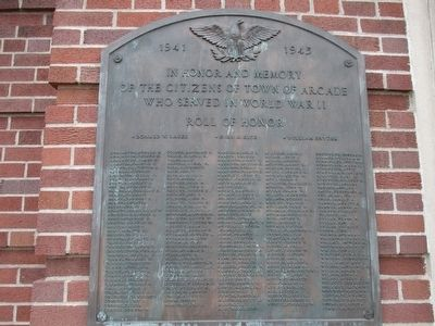 Town of Arcade WWII Memorial image. Click for full size.