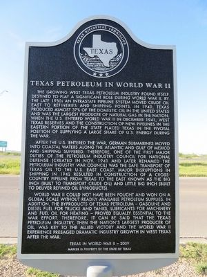 Texas Petroleum in World War II Marker image. Click for full size.