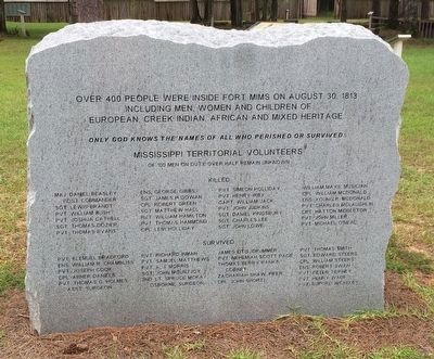 Mississippi Territorial Volunteers Killed and Survivors image. Click for full size.