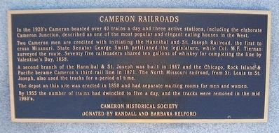 Cameron Railroads Marker image. Click for full size.