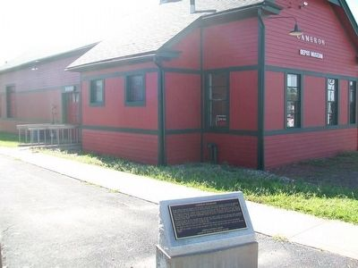Cameron Railroads Marker and Depot image. Click for full size.