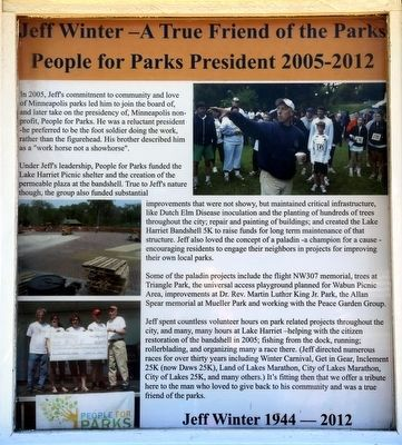 Jeff Winter—A True Friend of the Parks, People for Parks President 2005-2012 image. Click for full size.